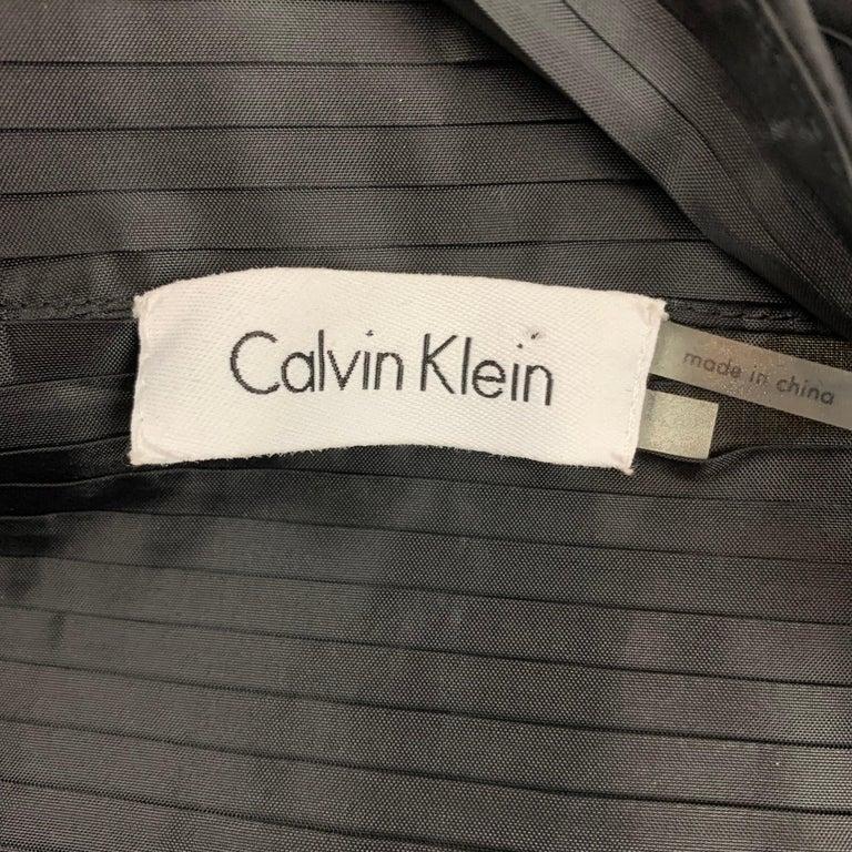 Women's CALVIN KLEIN Size L Black Pleated Long Panel Open Front Capelet For Sale