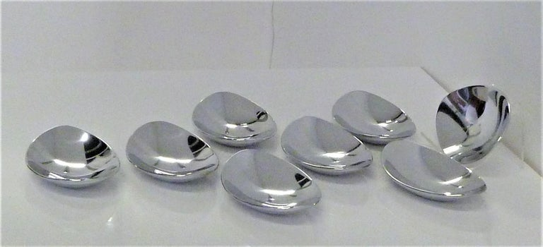 Calvin Klein Solar Platinum Hand Polished Metal 8 Boat Shaped Vessels For Sale 4