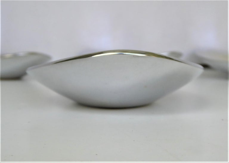 Calvin Klein Solar Platinum Hand Polished Metal 8 Boat Shaped Vessels For Sale 1