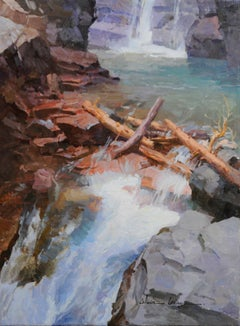 """""""Waterfall in Glacier"""" Oil painting"""