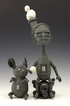 GIVE A LITTLE - contemporary surreal gray ceramic sculpture of boy and dog