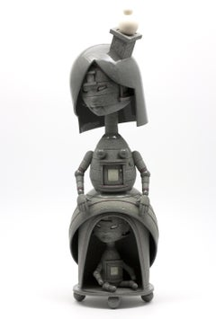 HIDING FROM MYSELF - surreal science fiction gray sculpture made of stoneware