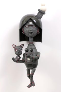 PROTECTIVE - surreal science fiction gray ceramic sculpture with dog