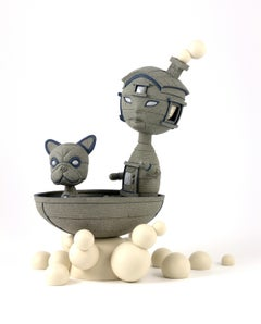 TAKE IT ON - surreal gray ceramic sculpture of boy and dog in boat