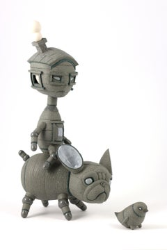 YOU FIRST - surreal gray ceramic sculpture of boy, dog and bird
