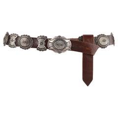 CALVIN MARTINEZ c.1980s Sterling Silver Handmade Traditional Navajo Concho Belt