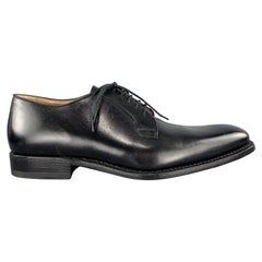 CALZOLERIA HARRIS Size 10 Black Leather Square Toe Dress Shoe