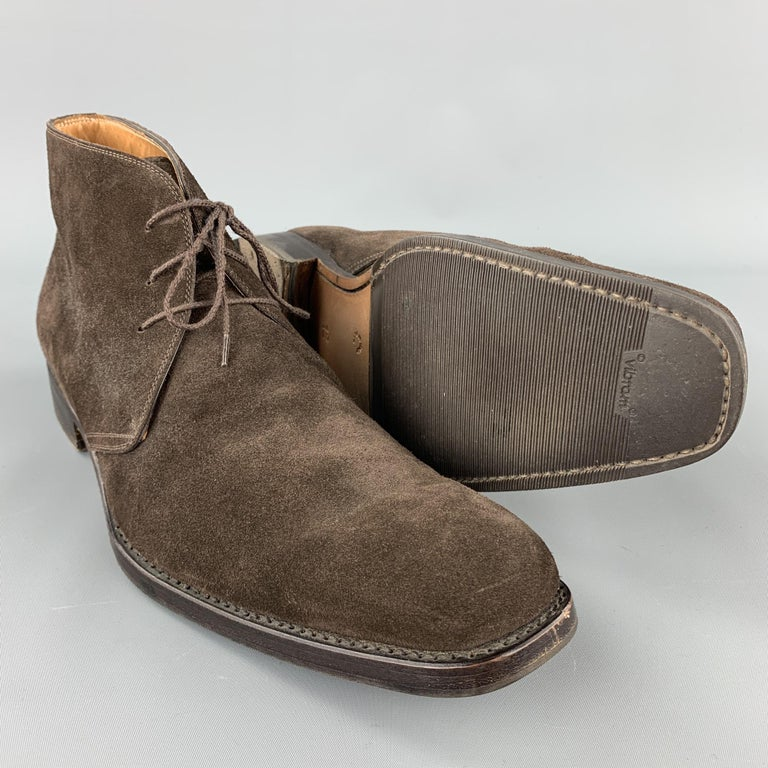 CALZOLERIA HARRIS Size 12 Brown Suede Lace Up Chukka Boots In Good Condition For Sale In San Francisco, CA