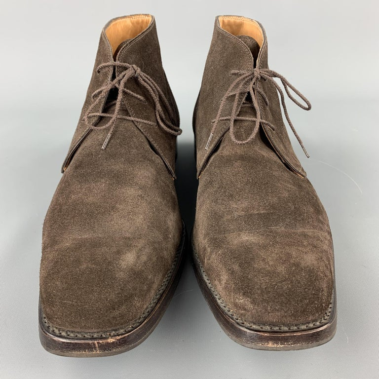 Men's CALZOLERIA HARRIS Size 12 Brown Suede Lace Up Chukka Boots For Sale