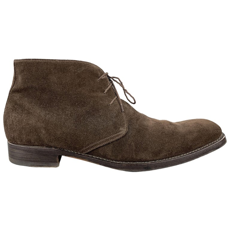CALZOLERIA HARRIS Size 12 Brown Suede Lace Up Chukka Boots For Sale
