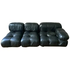 Camaleonda Black Leather Sectional Sofa by Mario Bellini for B&B Italia, 1970s
