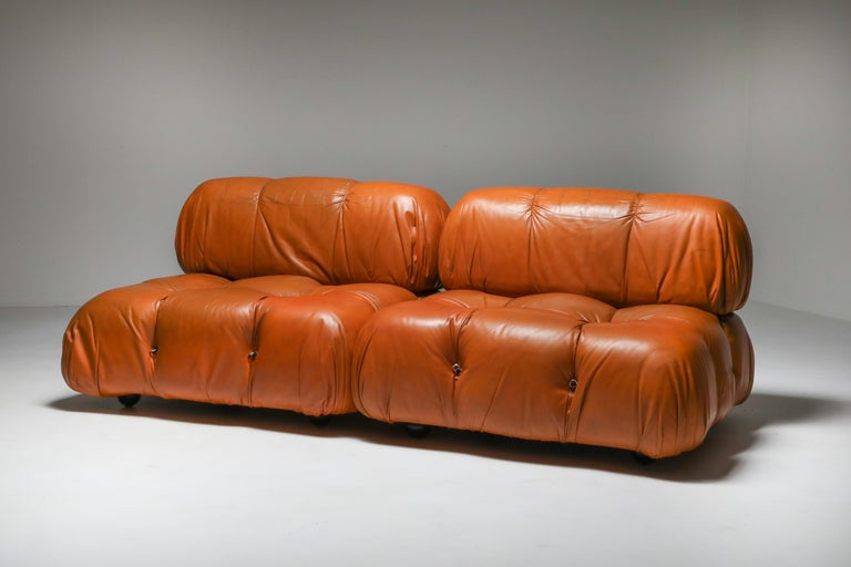 Mario Bellini, Camaleonda, B&B Italia, 1970s, sectional sofa.  Pair of original leather lounge chairs which together form a sofa of 2meters wide.
