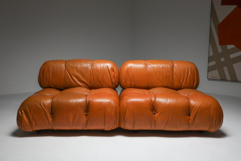Post-Modern Camaleonda in Original Cognac Leather, 1970s For Sale