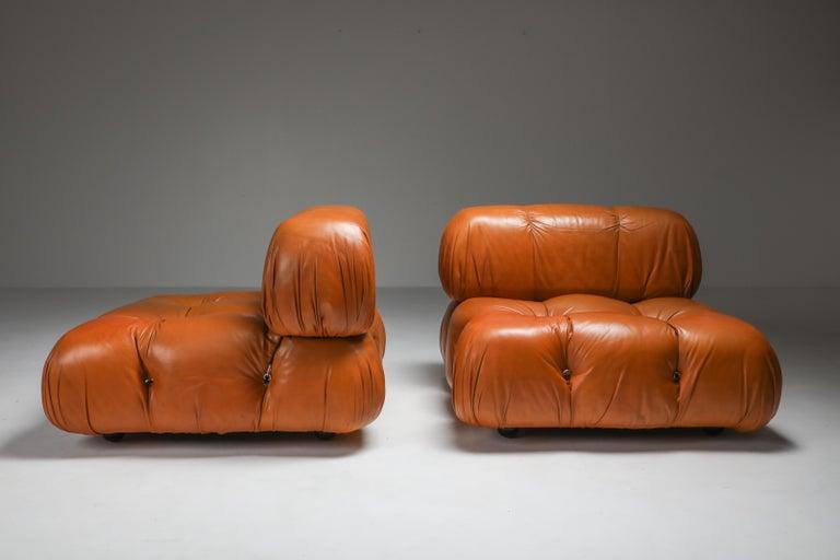 Italian Camaleonda in Original Cognac Leather, 1970s For Sale