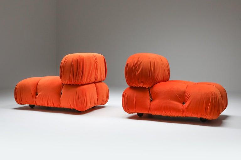 Mario Bellini, camaleonda, B&B Italia, Italy 1970s, easy chairs  Newly reupholstered in bright orange velvet.