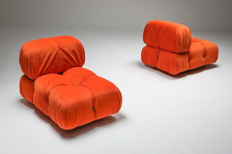 Post-Modern Camaleonda Lounge Chairs in Bright Orange Velvet For Sale
