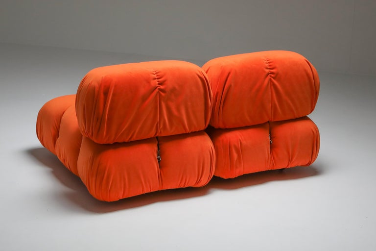 Camaleonda Lounge Chairs in Bright Orange Velvet In Excellent Condition For Sale In Antwerp, BE