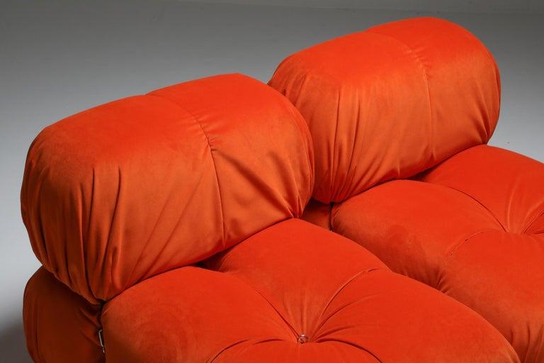 20th Century Camaleonda Lounge Chairs in Bright Orange Velvet For Sale