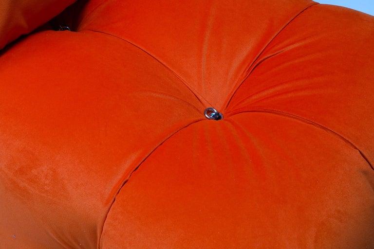 Camaleonda Lounge Chairs in Bright Orange Velvet For Sale 1