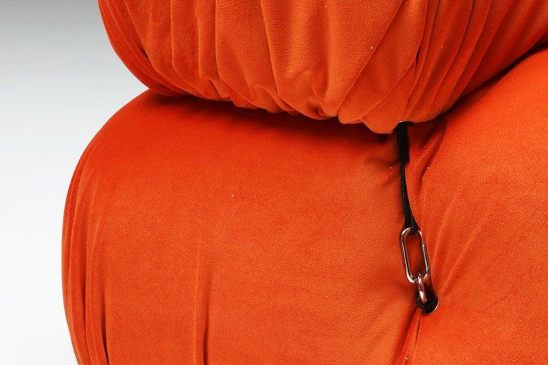 Camaleonda Lounge Chairs in Bright Orange Velvet For Sale 2