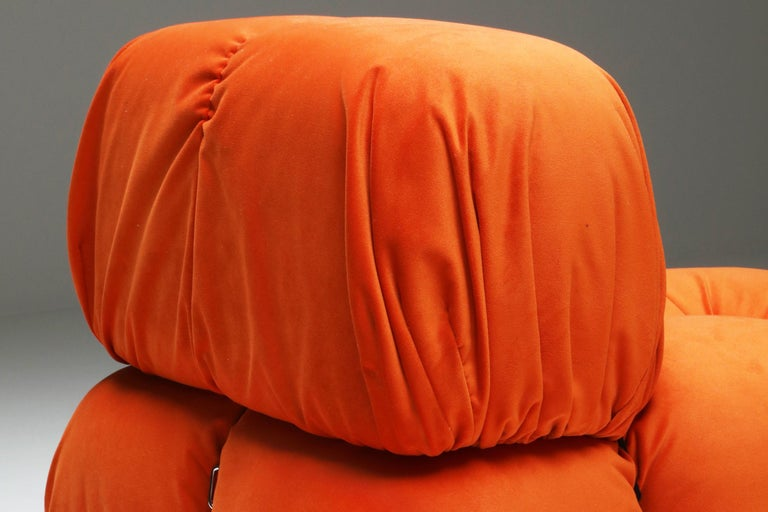 Camaleonda Lounge Chairs in Bright Orange Velvet For Sale 3