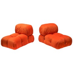 Camaleonda Lounge Chairs in Bright Orange Velvet