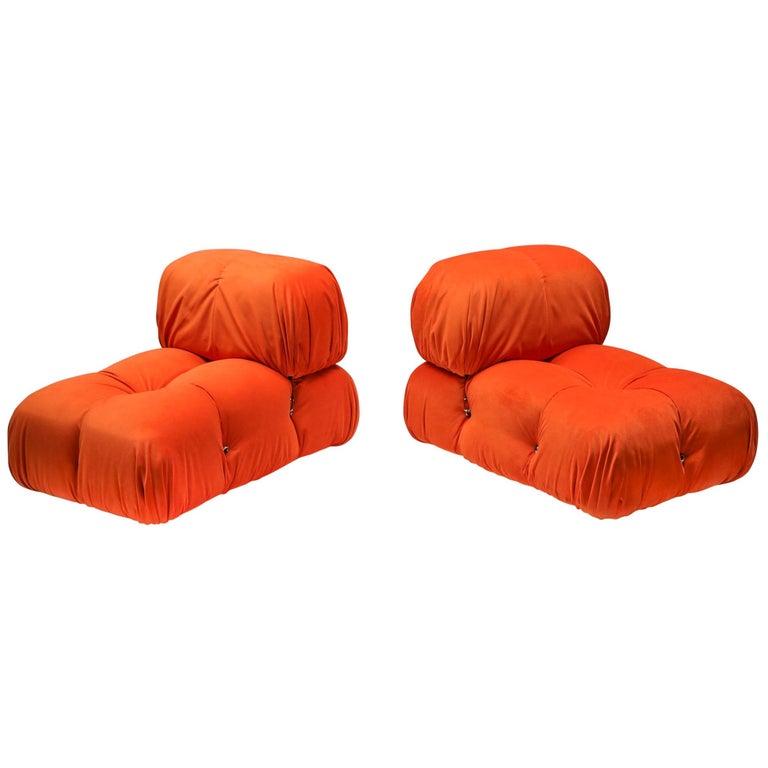Camaleonda Lounge Chairs in Bright Orange Velvet For Sale