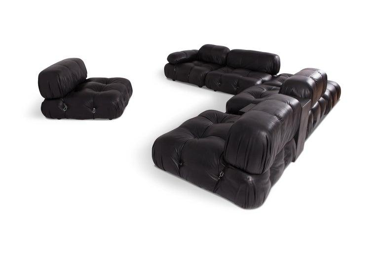 Mid-Century Modern Camaleonda Modular Sofa in Black Leather by Mario Bellini For Sale