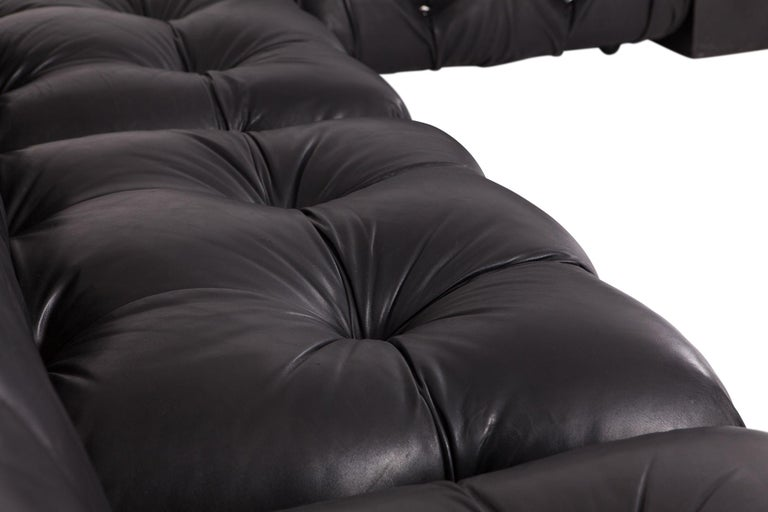 Late 20th Century Camaleonda Modular Sofa in Black Leather by Mario Bellini For Sale