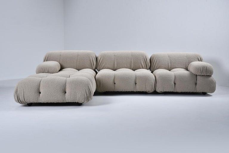 Italian Camaleonda Modular Sofa in Taupe Boucle by Mario Bellini For Sale