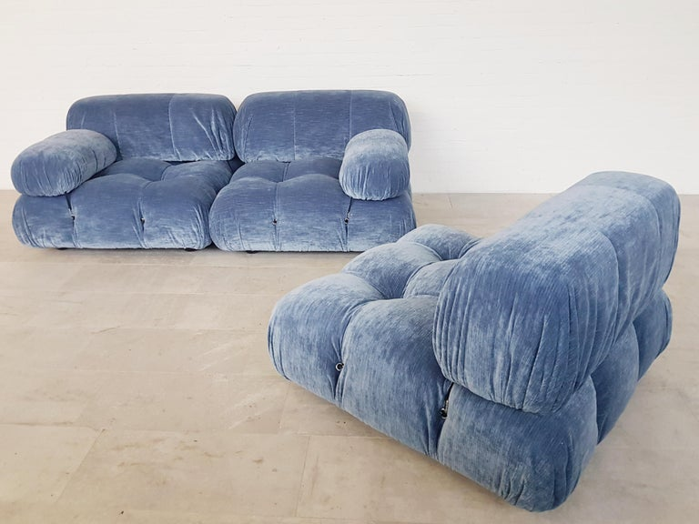 Camaleonda Sectional Sofa by Mario Bellini for B&B Italia in Blue Velvet For Sale 4