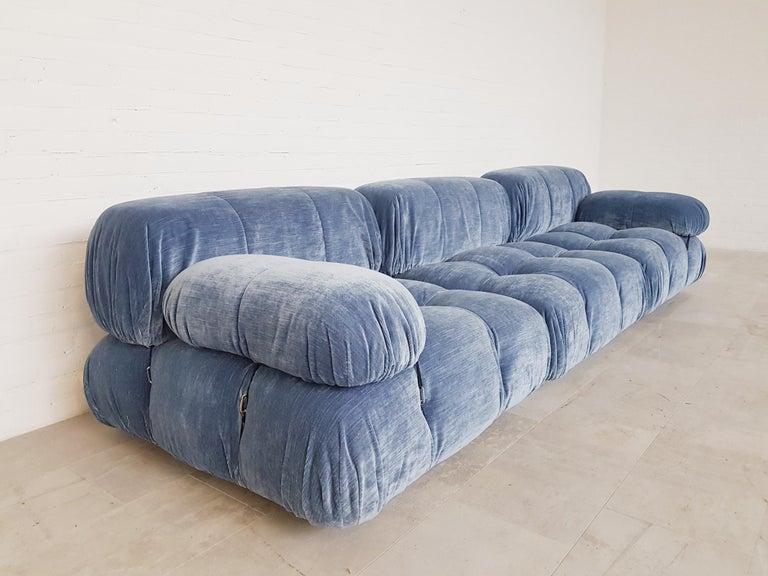 Camaleonda Sectional Sofa by Mario Bellini for B&B Italia in Blue Velvet For Sale 5