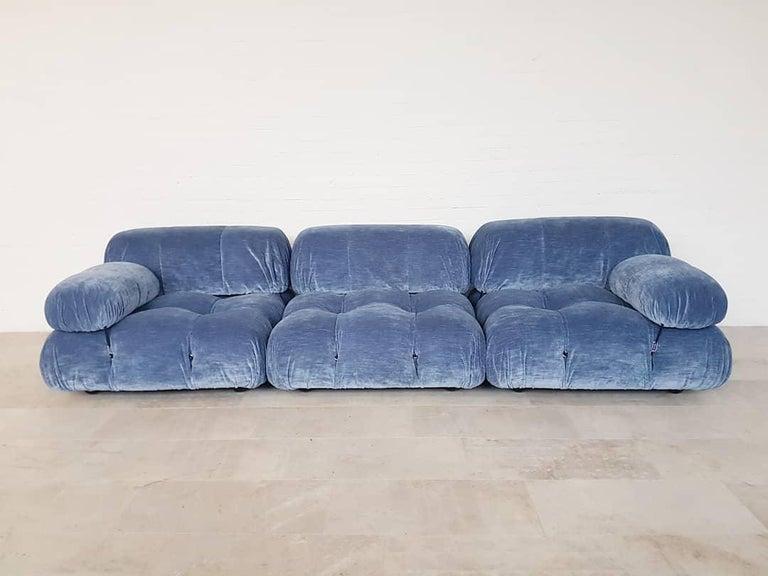 Camaleonda Sectional Sofa by Mario Bellini for B&B Italia in Blue Velvet For Sale 8