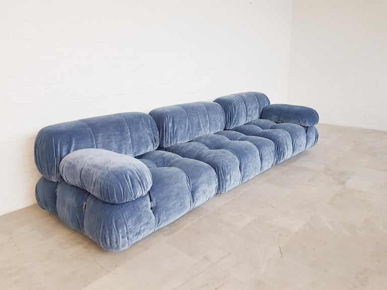 Mario Bellini designed this amazing modular sectional sofa for C&B Italia. These elements have been reupholstered in blue velvet.  We have more original elements in store, so do reach out if you like to create your perfect combination in your