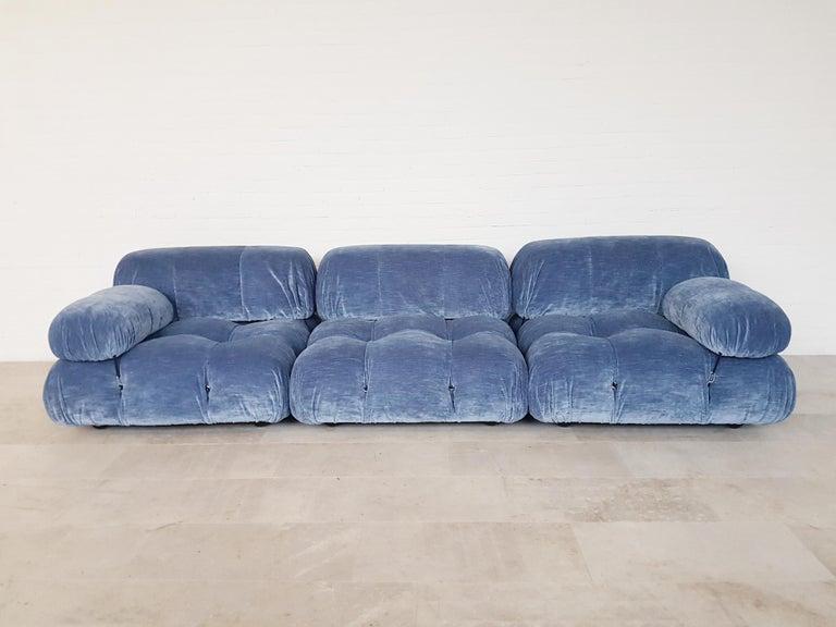 Post-Modern Camaleonda Sectional Sofa by Mario Bellini for B&B Italia in Blue Velvet For Sale