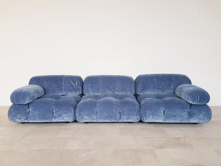 European Camaleonda Sectional Sofa by Mario Bellini for B&B Italia in Blue Velvet For Sale