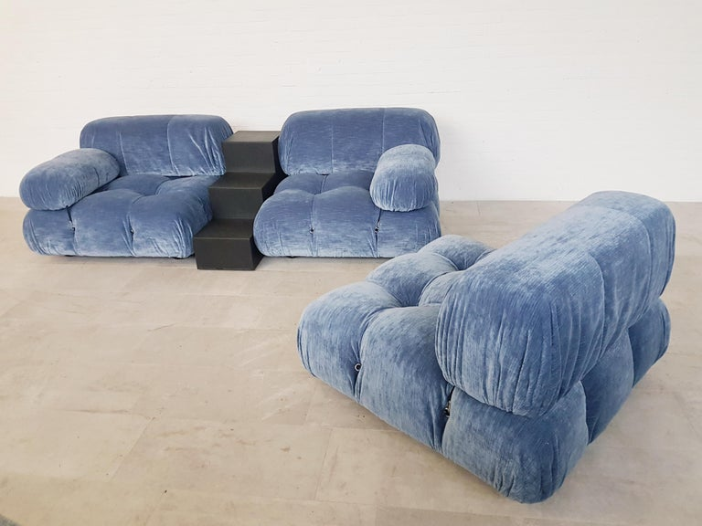 Camaleonda Sectional Sofa by Mario Bellini for B&B Italia in Blue Velvet For Sale 1