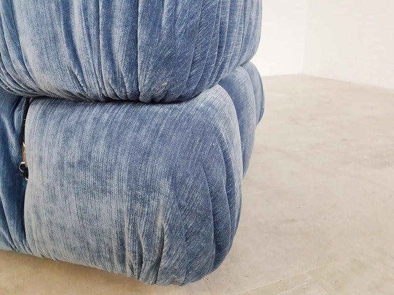 Camaleonda Sectional Sofa by Mario Bellini for B&B Italia in Blue Velvet For Sale 2