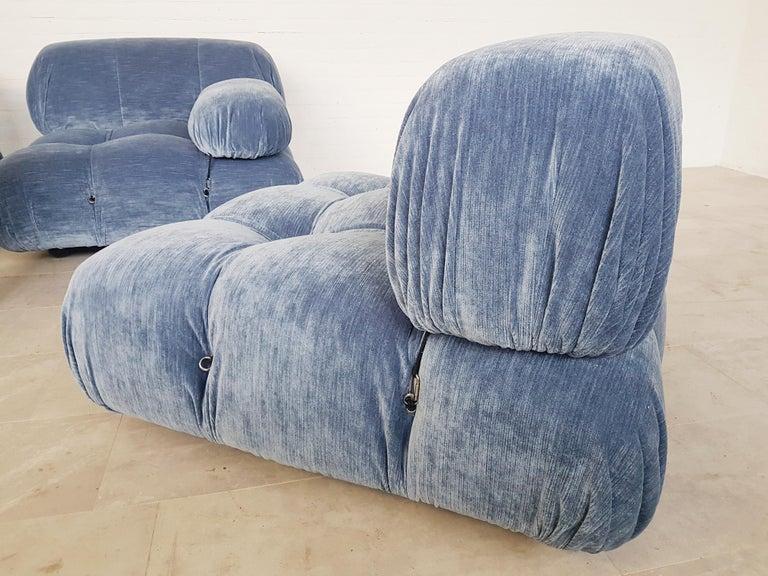 Camaleonda Sectional Sofa by Mario Bellini for B&B Italia in Blue Velvet For Sale 3