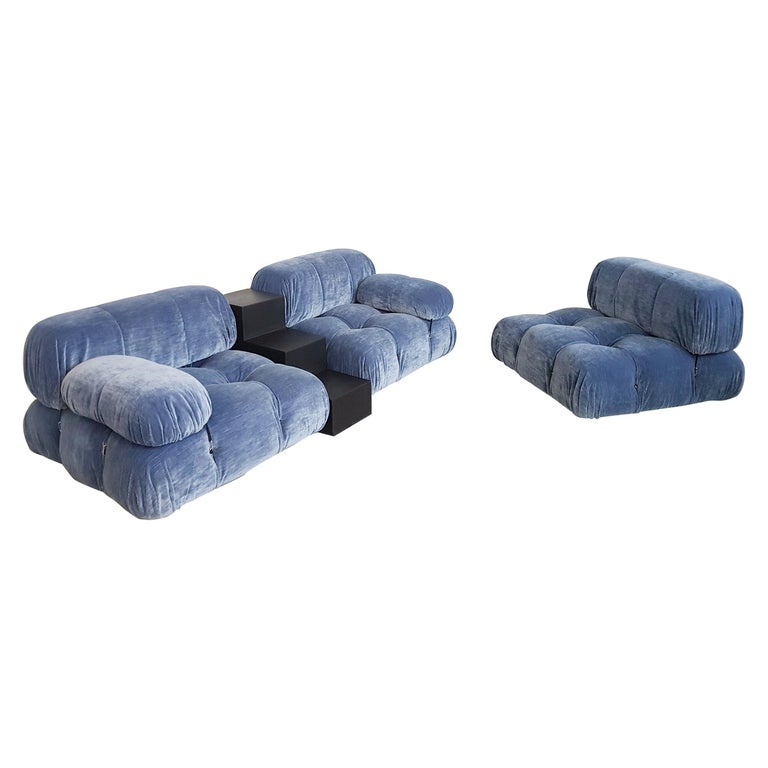 Camaleonda Sectional Sofa by Mario Bellini for B&B Italia in Blue Velvet For Sale