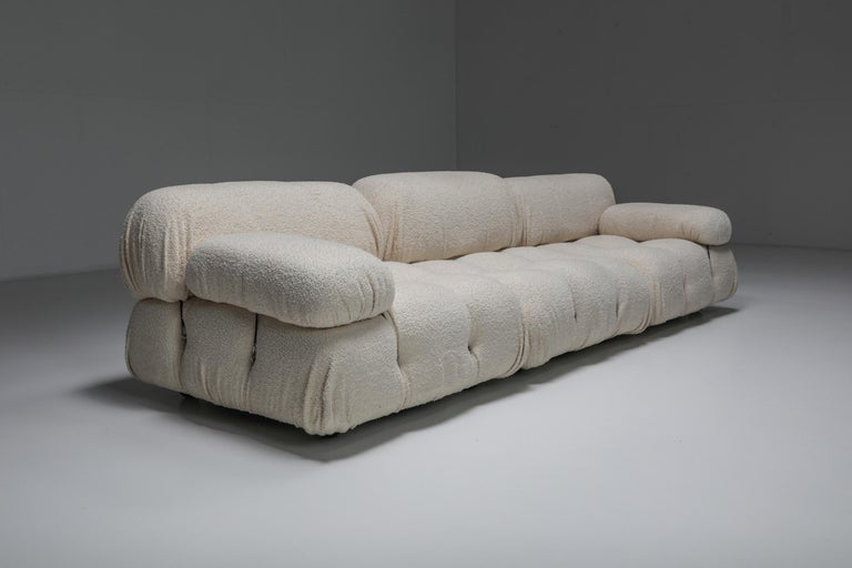 Mario Bellini, 'Cameleonda' sectional sofa in bouclé wool, Italy, 1972.  Re-upholstered Camaleonda piece by Mario Bellini. The listing includes two seating cushions, two back cushions and two arm rests. Ask about extra modules This design