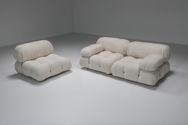 Italian Camaleonda Sofa in Boucle Wool by Mario Bellini For Sale