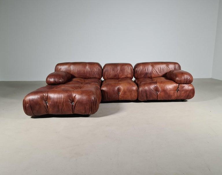 Mid-Century Modern Camaleonda Sofa in Original Leather by Mario Bellini for B&B Italia, 1973 For Sale