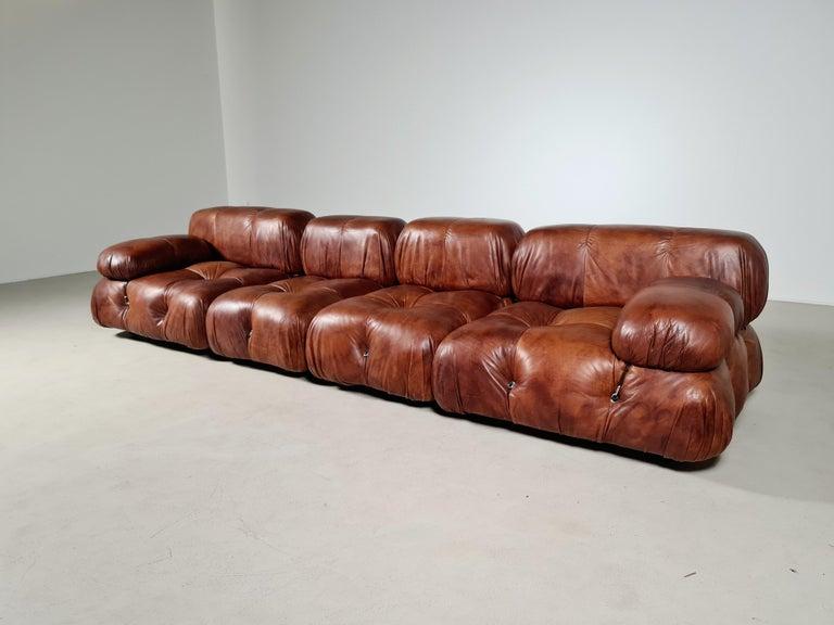 Italian Camaleonda Sofa in Original Leather by Mario Bellini for B&B Italia, 1973 For Sale