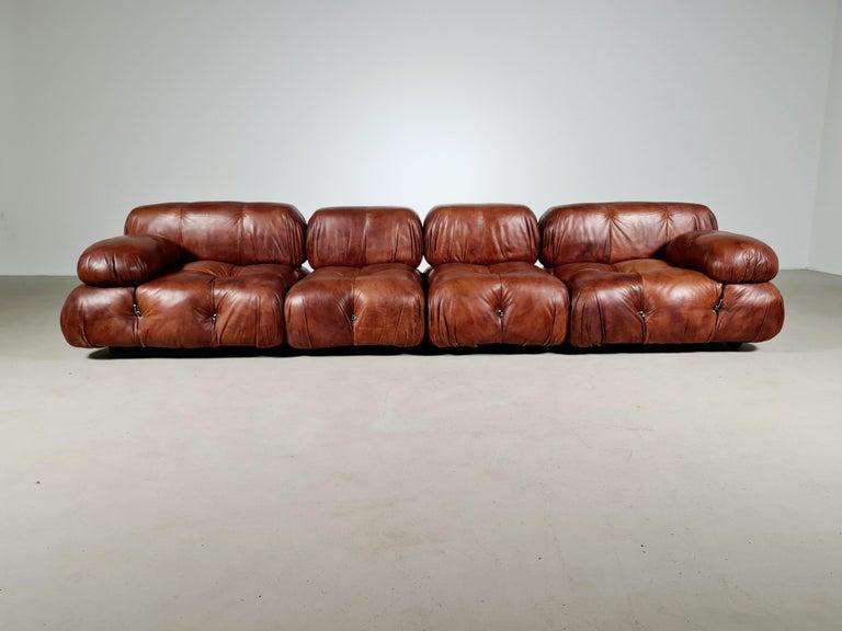 Camaleonda Sofa in Original Leather by Mario Bellini for B&B Italia, 1973 In Good Condition For Sale In amstelveen, NL