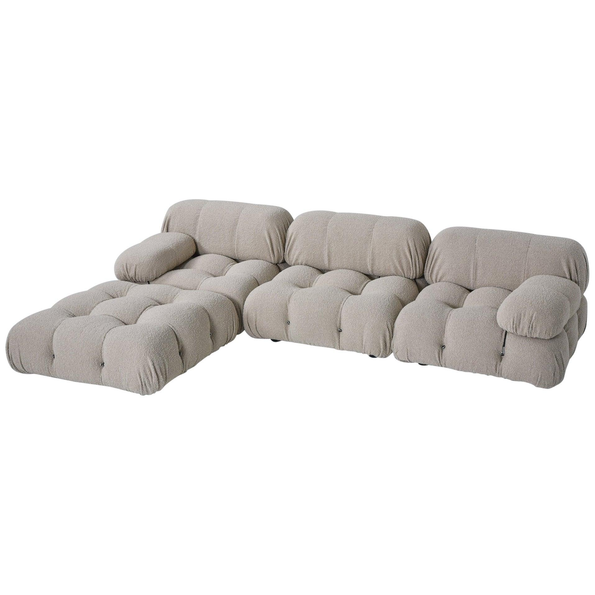 Camaleonda Vintage Original Sectional Sofa in Taupe Boucle by Mario Bellini