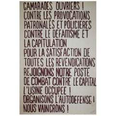 Camarades Ouvriers, May 1968 Original Vintage Poster