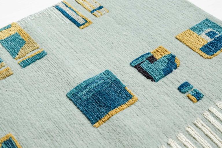Post-Modern Camarillo Bleu Ivoire, Patterned Designer Hand Knotted Wool Silk Rug For Sale