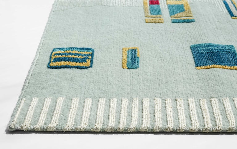 Nepalese Camarillo Bleu Ivoire, Patterned Designer Hand Knotted Wool Silk Rug For Sale