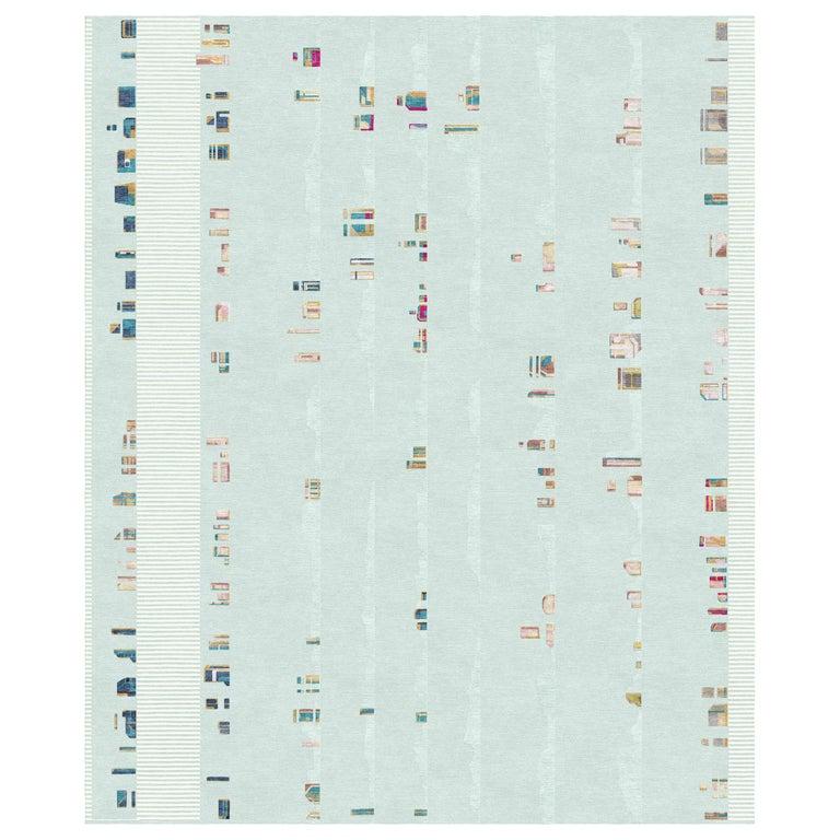 Camarillo Bleu Ivoire, Patterned Designer Hand Knotted Wool Silk Rug For Sale